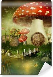 Papier peint vinyle Toadstool chalet de conte de fées
