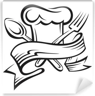 Papier peint vinyle Toque, cuillère et fourchette