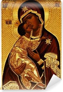 Papier peint vinyle Une icône orthodoxe de Marie, Vladimirskaya