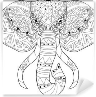 Coloriage Elephant Pour Adulte.Papier Peint Dessin Main Element Zentangle Noir Et Blanc Mandala