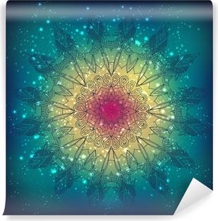 Papier peint vinyle Vecteur dentelle motif floral rond