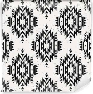 Papier peint vinyle Vector grunge monochrome motif ethnique décorative transparente. motifs indiens américains. Arrière-plan avec ornement tribal aztec.