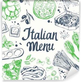 Papier peint vinyle Vector illustration avec machine à pâtes, des pâtes, raviolis. Esquisse.