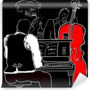 Papier peint vinyle Vector illustration d'un piano jazz et contrebasse