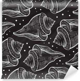 Papier peint vinyle Vector Seashells pattern sur un fond de tableau