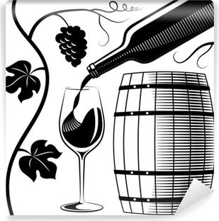 Papier peint vinyle Verre de vin et une bouteille et bois baril imitation de la gravure