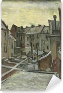 Papier peint vinyle Vincent van Gogh - Arrière-cours des maisons anciennes à Anvers dans la neige