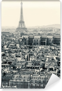 Papier peint vinyle Vue aérienne de Paris avec la Tour Eiffel. Noir et blanc