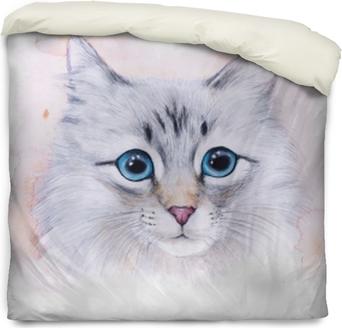 Påslakan Akvarell illustration av en vit katt