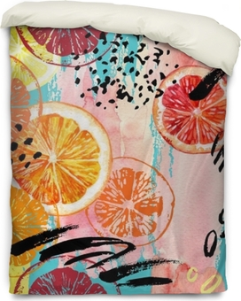 Påslakan Akvarell orange, citron, grapefrukt sömlöst mönster.