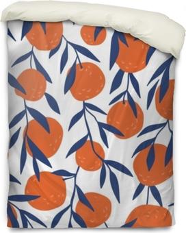 Påslakan Tropiskt sömlöst mönster med röda apelsiner. frukt upprepad bakgrund. vektor ljust tryck för tyg eller tapeter.