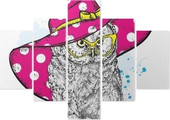 e30c6df454b3f Mural de Parede Coruja engraçada em um bonito chapéu de praia e óculos de  sol. ilustração vetorial para um cartão postal ou cartaz