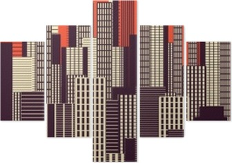 a three colors graphical abstract urban landscape poster in orange, and brown Pentaptych