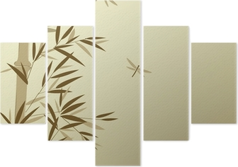 Bamboo with dragonflies in Chinese painting style Pentaptych
