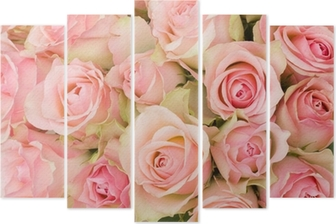 bouquet of pink roses Pentaptych