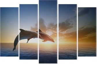 Dolphins jumping Pentaptych