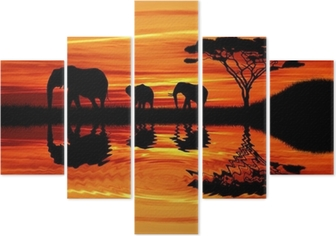 Elephant silhouette at sunset Pentaptych