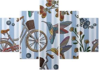 Fototapeta Vyšívací jízdní kolo s košem bzučící pták a květiny bezešvé vzor.  módní vyšívací kolo kolibřík ptáků a jarních květů cae3489682