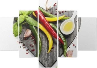 Fresh vegetables on heart shaped cutting board Pentaptych