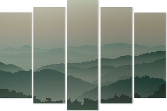 Green mountains in fog Pentaptych