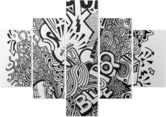 Hand drawing Doodle,Collage with musical instruments Pentaptych