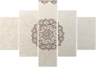 Henna Mehndi Vector : Henna mehndi mandala flower and border vector doodle wall mural