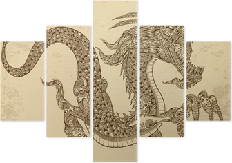 Henna Tattoo Tribal Dragon Doodle Sketch Vector Wall Mural Pixers