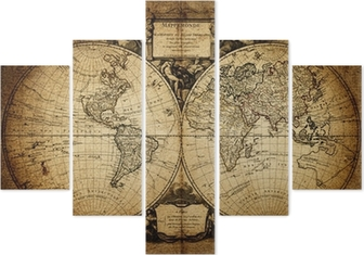 map of world 1752 Pentaptych