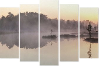 Misty morning Pentaptych