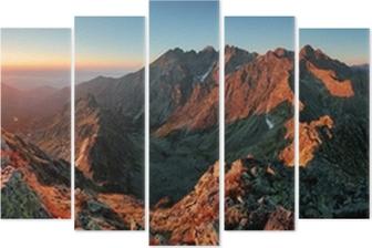 Panorama mountain autumn landscape Pentaptych
