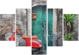 Red scooter Pentaptych