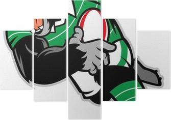 rugby gorilla mascot Pentaptych