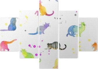 Seamless pattern with cute cats Pentaptych