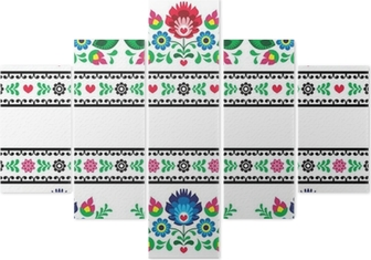 Seamless Polish folk pattern with flowers Pentaptych