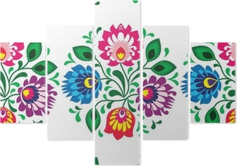 Seamless traditional floral pattern from Poland on white Pentaptych