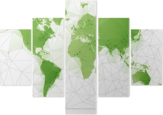 Triangular World Map with largest cities in the world Wall Decal ...
