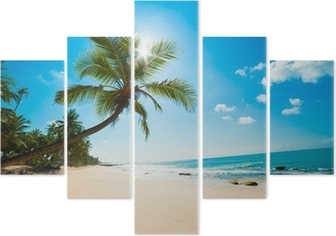 Tropical beach in the sun Pentaptych