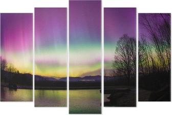 Uncommon Aurora Borealis in Vermont. Pentaptych