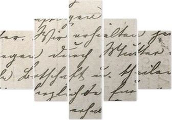 vintage handwriting with a text in undefined language Pentaptych