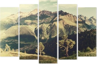 Vintage landscape with trees and mountains Pentaptych