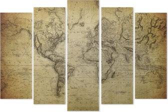 vintage map of the world 1814.. Pentaptych