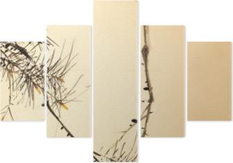 Pentaptychon Chinesische Tuschemalerei Vogel- und Pflanzen