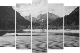 Pentaptychon Schöner szenischer See Jasna im Sommer, Kranjska Gora, Slowenien