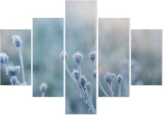 Pentaptychon Zusammenfassung natürlichen Hintergrund von gefrorenen Anlage mit Raureif oder Raureif