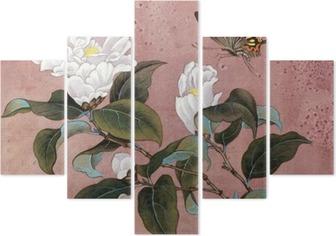 Pentaptych Azalka květina a motýl