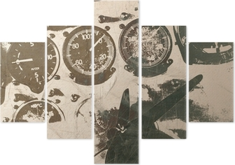 Pentaptych Retro letectví, vintage pozadí