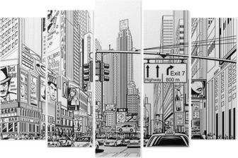 Pentaptych Ulice v New Yorku