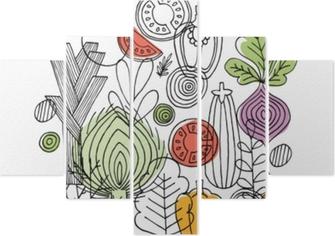 Pentaptych Zeleninové složení. lineární grafika. zeleniny pozadí. skandinávský styl. zdravé jídlo. vektorové ilustrace