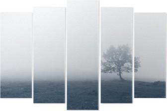 Pentaptyk Solitärträd med dimma