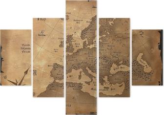 Pentaptyk Vintage Europa karta horisontal